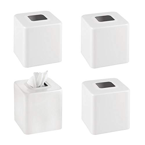 mDesign Modern Square Metal Paper Facial Tissue Box Cover Holder for Bathroom Vanity Countertops, Bedroom Dressers, Night Stands, Desks and Tables - Pack of 4, Matte White (Tables Square Nesting Iron)