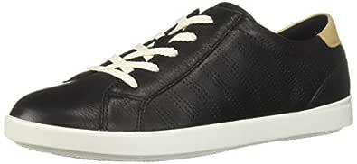 ECCO Women's Women's Leisure Sport Tie Sneaker, Black/Powder, 35 M EU (4-4.5 US)