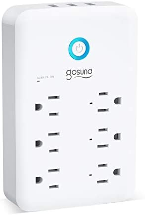 Smart Outlet, Gosund Wall Outlet Extender (15A/1800W), Multi WiFi Plug with 3 USB Ports (5V/3A 24W) and six Outlet Wall Adapter Plug Expanders Surge Protector Works with Alexa and Google Home