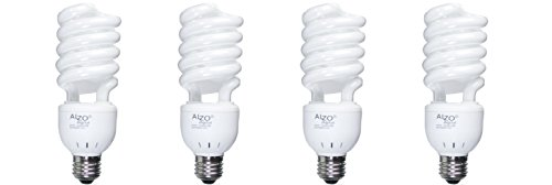 Spectrum Fluorescent Lights - ALZO 27W Full Spectrum CFL Light Bulb 5500K, 1300 Lumens, 120V, Pack of 4, Daylight White Light