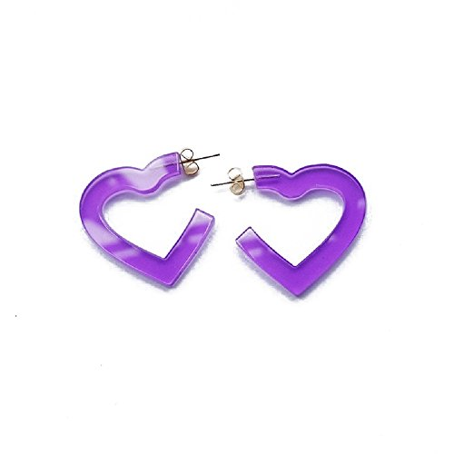 New Arrival Creative Transparent Acrylic Material Exaggerated Heart Shape Candy Colors Women/Girl's Charm Earrings Ear Studs(3cm) (Purple(3cm))