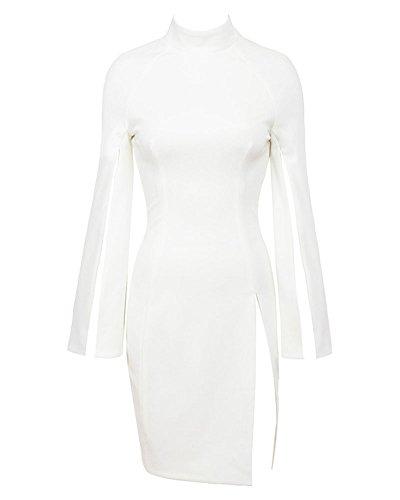 White Women's Dress Sleeve Whoinshop Cocktail Cape High Neck 47x0qvA