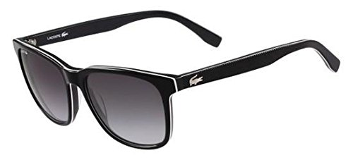 Lacoste Unisex L833S Rectangular Sunglasses, Black, 55 mm
