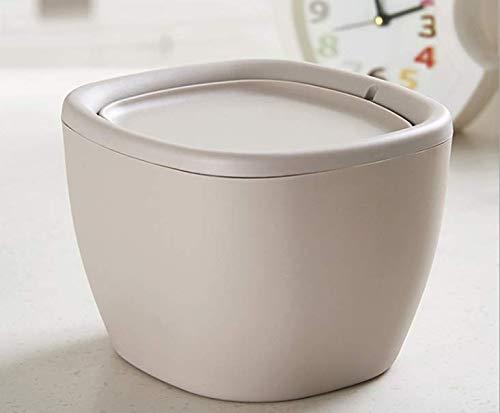 (Countertop Plastic Swing Lid Table Desk Car Mini Trash Can Trash Bin, 1.5 L / 0.40 Gal, Gray)