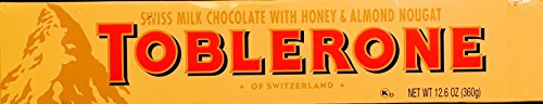 Almond Chocolate Honey - Extra Large Toblerone Swiss Milk Chocolate with Honey and Almond Nougat Chocolate Bar - 12.6Oz (360g) - Made In Switzerland
