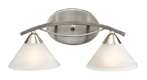Elk 7631/2 2-Light Vanity In Satin Nickel and Marbleized White Glass (Elysburg 2 Light)