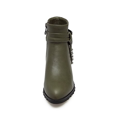 Boots Studded Toe Solid 9 Pointed BalaMasa Urethane ABL09783 Low US Army M Heel Zipper Womens Green B xPwYC