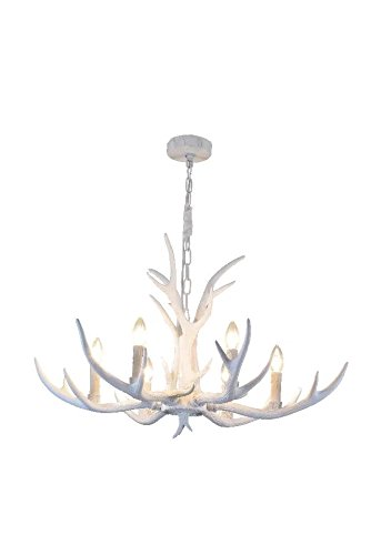 """EFFORTINC Resin Antler Chandeliers 6 Light 31.5"""" Diameter X 18.1"""" Tall with 4 Feet Matching Chain(Bulbs Not Included)"""