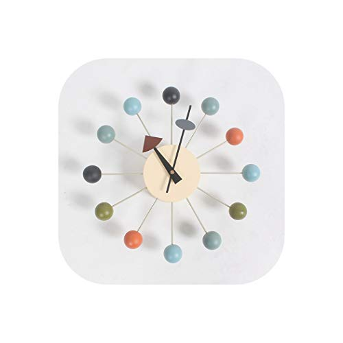 (Wall Clock Clock Popular Designer Beautiful Modern Luxury Home Decorative DIY Wooden Balls Wall Clocks Candy Clock Simple Clock,Multi Color)