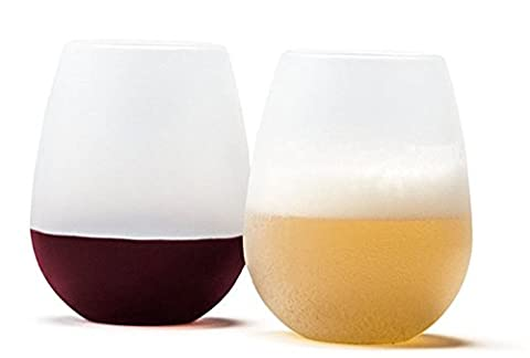 Q-seedling Silicone Wine Glasses, Unbreakable, Collapsible, Food Grade Clear Silicone and Dishwasher Safe Rubber Wine Cups for Camping, Carnival, Revelries (Set of 2) (White)