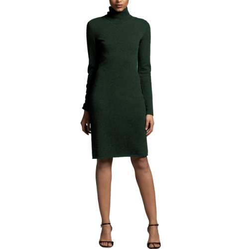 Parisbonbon Women's 100% Cashmere Turtleneck Dress Color Hunter Green Size ()