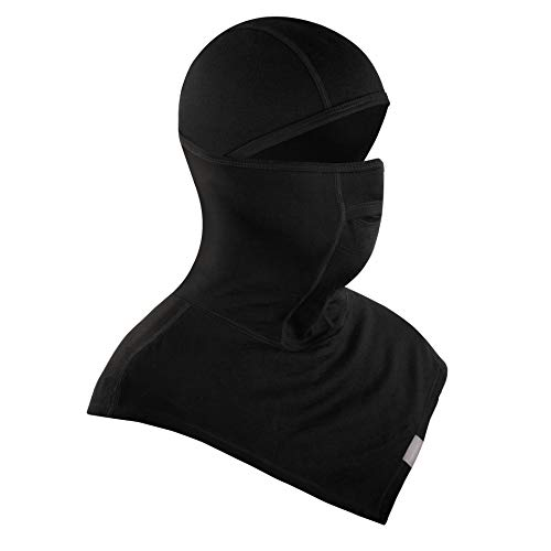 MERIWOOL Merino Wool 200g Hinged Balaclava Ski Mask for Outdoor Sports Black