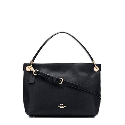 COACH Women's Polished Pebble Leather Clarkson Hobo Li/Black One Size