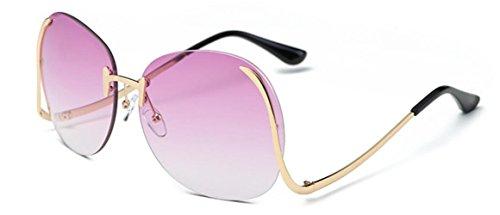 YLOVE Women's Fashion Sunglasses Colorful UV400 Vintage Sun Glasses Retro Oversized Rimless Clear Lens Eyewear/Gold+Purple - Oversized Sunglasses Vintage