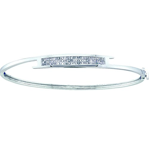 14kt White Gold Womens Princess Natural Diamond Bangle Fashion Bracelet 1/2 - Princess White Gold Bangle Diamond