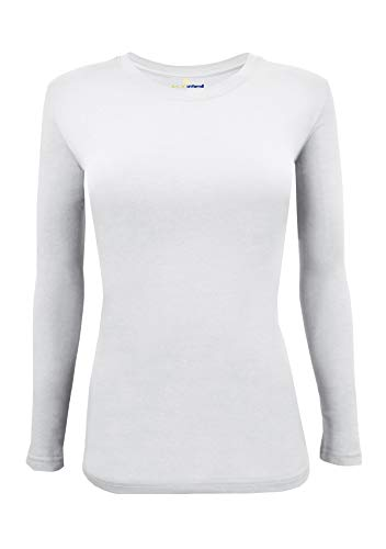 Natural Uniforms Women's Under Scrub Tee Crew Neck Long Sleeve T-Shirt (White, ()