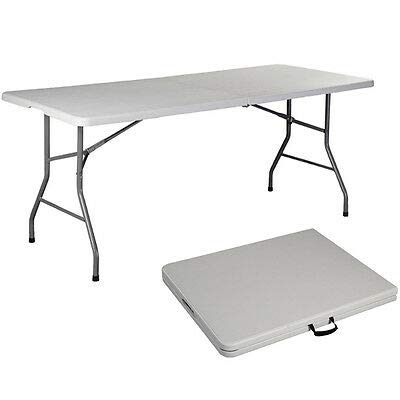 BCP 6ft Portable Folding Plastic Bench Seat w Handle, Lock – White