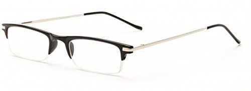 Readers.com The Bishop Unisex Half Rim Browline Reading Glasses, Rectangular Half Frame Readers for Men and Women + 2.50 Black (Microfiber Cleaning Carrying Pouch - Funky Glass Frames