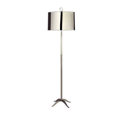 Robert Abbey S1911 Lamps with White Painted Interior Metal Shades, Polished Nickel Finish - Robert Abbey Nickel Polished Floor Lamp