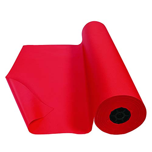 Colorations Dual Surface Paper Roll Classroom Supplies for Arts and Crafts Flame Red (36