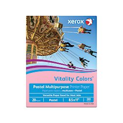 "Xerox Multipurpose Colored Paper, 8 1/2"" x 11"", 20 Lb., Pink, Ream Of 500 Sheets"