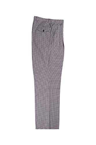 Tiglio Black and White Mini-Check Wide Leg, Pure Wool Dress Pants Luxe RS5524/1
