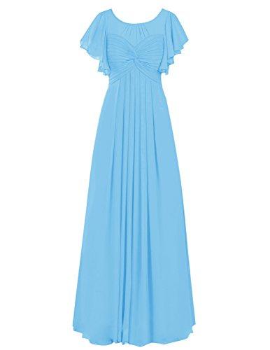Dresstells®Vestido De Madrina Elegante Largo Con Mangas De Chiffon Azul