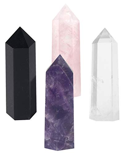 Luckeeper Healing Crystal Wands,2″ Amethyst Crystal, Rose Quartz,Clear Quartz and Black Obsidian,6 Faceted Reiki Chakra Stones 4 pcs