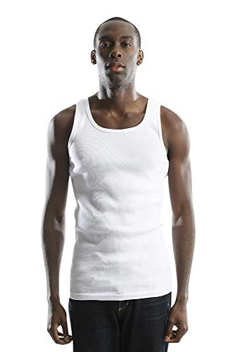 (City Lab Men's Super Soft Cotton Ribbed Tank Top A-Shirt, Ice White, Small)