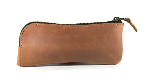 Leather eyeglass case, reading glass case, leather sunglass sleeve case (Light Brown)