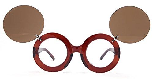 Laura Fairy Girls'/ladies' Double Flip Cute Style Brand Designer Round Sunglasses - Raiban Glasses