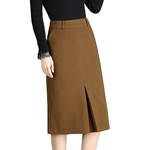 Flygo Women's Slim Fit Skirts Back Zip High Waist Strechy Bodycon Pencil Skirt (Camel, Medium)