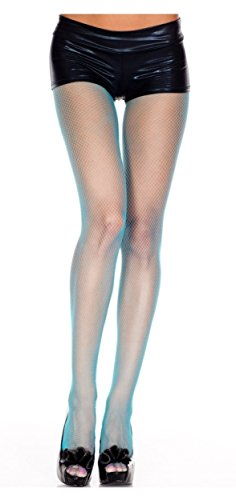 - Turquoise, Queen Size - Nylon Seamless Fishnet Pantyhose