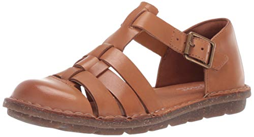 CLARKS Women's Blake Moss Fisherman Sandal, tan Leather, 100 M US (Toe Leather Closed Sandals)