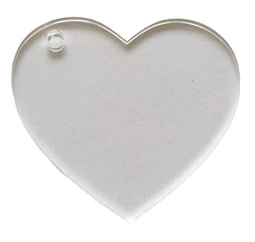 Clear Acrylic Heart Shape Blank Cutout with Hole for Keychains (3.5 Inch)