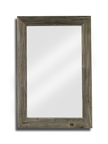 Raphael Rozen – Elegant – Modern – Classic – Vintage – Rustic – Hanging Framed Wall Mounted Mirror, Natural Weathered Grey Barn wood (2 5/8″, 20×30)