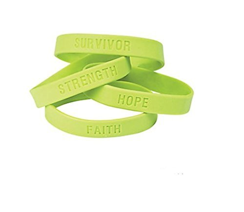OTC 25 Lime Green Awareness Sayings Bracelets, Lymphoma, Lyme Disease, Muscular Dystrophy, Mental Health