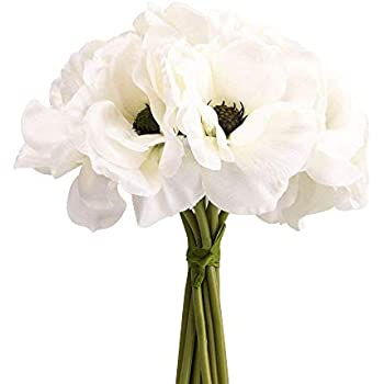 Amazon single artificial white anemone silk white anemone silk white anemone bouquet home furnishing decorative flowers 39bloomx94 tall mightylinksfo