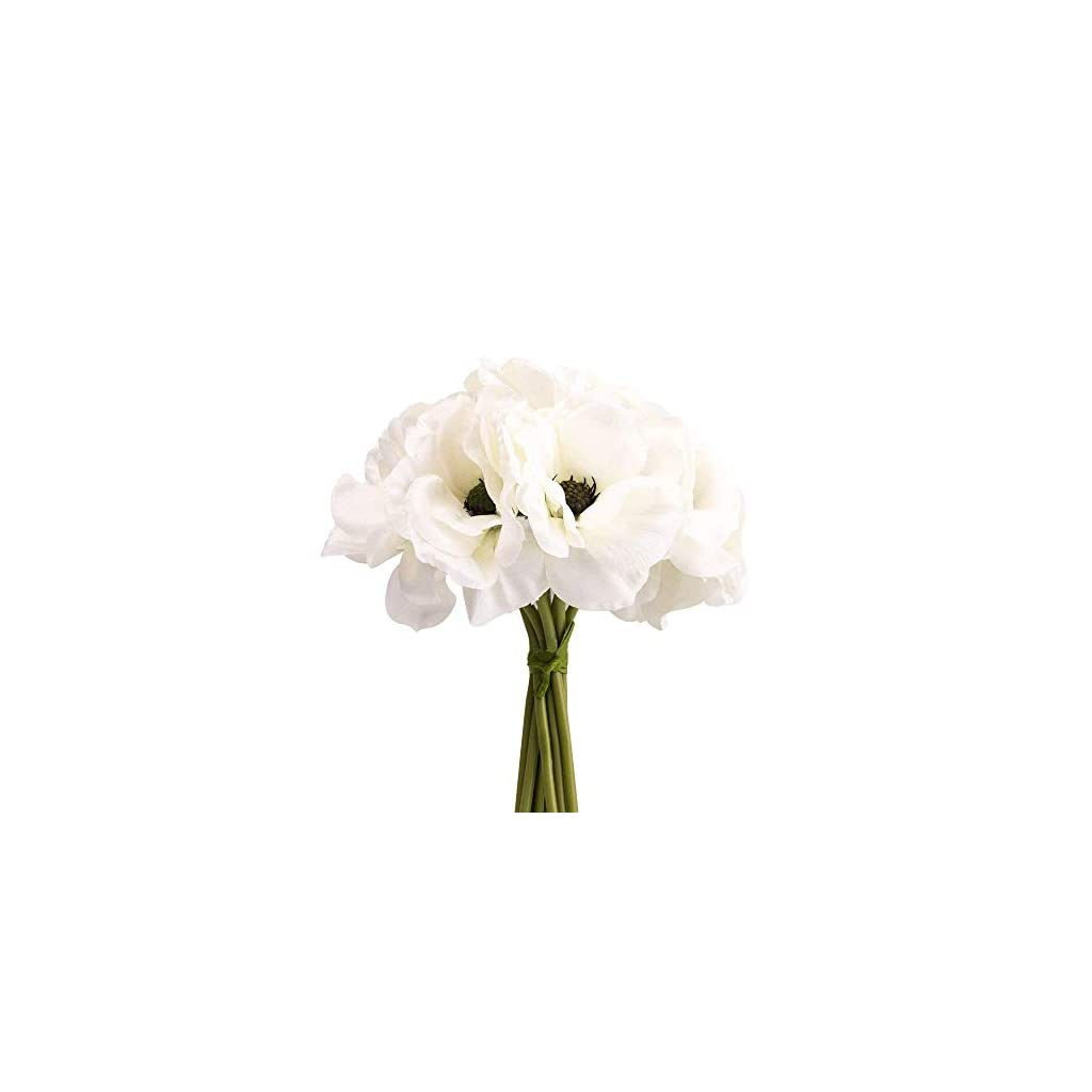 silk white anemone bouquet Home Furnishing decorative flowers 3.9″bloomx9.4″ tall