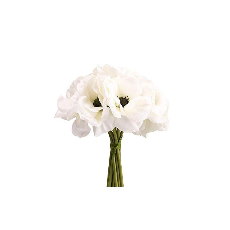 "silk flower arrangements silk white anemone bouquet home furnishing decorative flowers 3.9"" bloomx9.4 tall"
