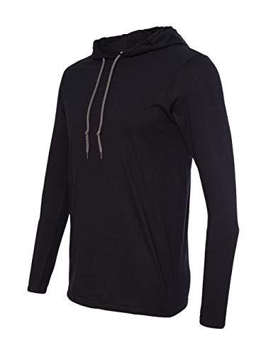 Anvil Lightweight Long Sleeve Hooded T-Shirt. 987 Large Black / Dark Grey