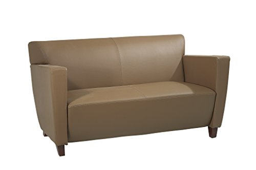 Office Star Modern Taupe Leather Love Seat with Cherry Finish (Cherry Leather Loveseat)