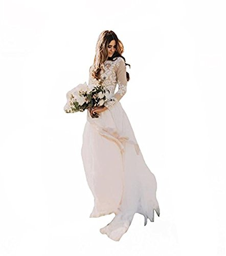 Lnxianee Women's Bohemian Country Wedding Dresses Long Sleeves Bateau Lace Boho Bridal Gowns Ivory