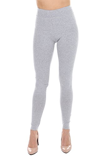 Premium Cotton Spandex Leggings for women -Full Length- Non See Thru - Best Selling (H.Gray, Large) (Best Selling Sports Jerseys)