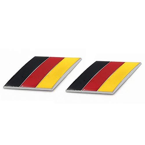 (Graven 2Pcs/Pair 3D Metal German Flag Car Body Side Fender Rear Trunk Emblem Badge for Volkswagen Audi Bmw Mercedes Benz Porsche)