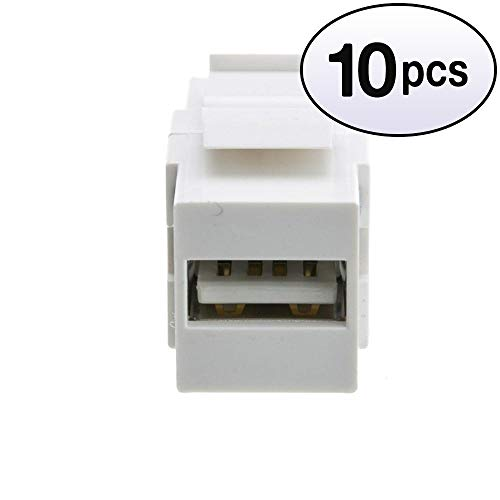 GOWOS (10 Pack) Keystone Insert, White, USB 2.0 Type A Female to Type B Female Adapter (Reversible) ()