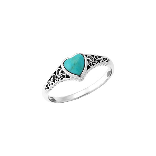 Boma Jewelry Sterling Silver Turquoise Heart Ring, Size 6