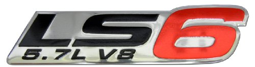 LS6 5.7L V8 Red Engine Emblem Badge Nameplate Highly Polished Aluminum Chrome Silver for GM General Motors Cadillac CTS-V CTSV Chevy Chevrolet Corvette Z06 Z-06 C5 ZR1 01 02 03 04 2001 2002 2003 2004