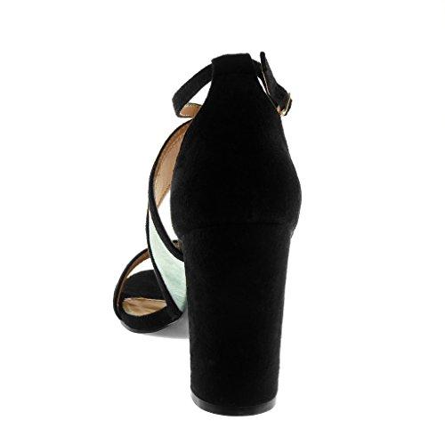 Angkorly Damen Schuhe Sandalen Pumpe - Knöchelriemen - Tricolor - String Tanga Blockabsatz High Heel 9 cm Rot
