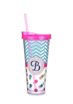Home Accents Monogrammed Letter B Multicolored Tumbler, 22 oz (BPA Free) -